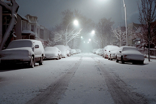 Cars in the Snow - Brooklyn, New York