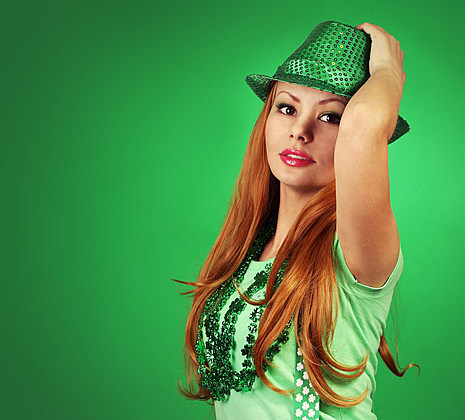 St Patrick's day Girl. Young woman with green hat